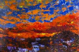 Zonsondergang najaar | Acryl op doek | 80x60 cm | € 650