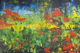 Vrolijk land | Acryl op doek | 100x70 cm | € 900