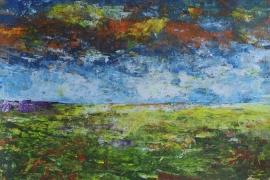 Landschap met oranje lucht | Acryl op papier | 50x30 cm | € 150