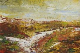 Landschap met gele lucht | Acryl op papier | 50x30 cm | € 150
