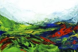 Landschap in seizoenen drieluik A | Acryl op doek | 40x40 cm | Verkocht
