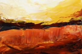 Landschap in seizoenendrieluik B | Acryl op doek | 40x40 cm | Verkocht