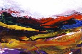 Landschap in seizoenen drieluik C | Acryl op doek | 40x40 cm | Verkocht
