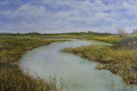 Polderlandschap met hoeve | Acryl op doek | 100x70 cm | € 800
