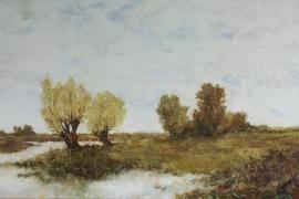 Polderland met bomen | Acryl op doek | 80x50 cm | Verkocht