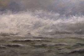 Het grommelen van de zee | Acryl op doek | 120x50 cm | € 700
