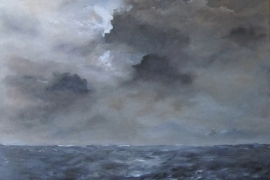 Zeegezicht met maartse buien | Acryl op doek | 100x90 cm | € 950