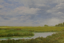 Ode aan het landschap: polder Na Dordt | Acryl op doek | 140x70 cm | Verkocht