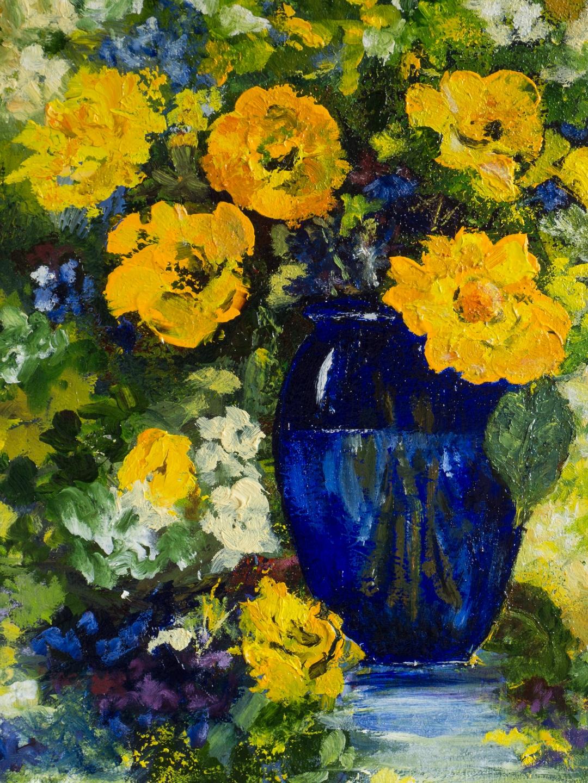 409 - Blauwe vaas met gele bloemen