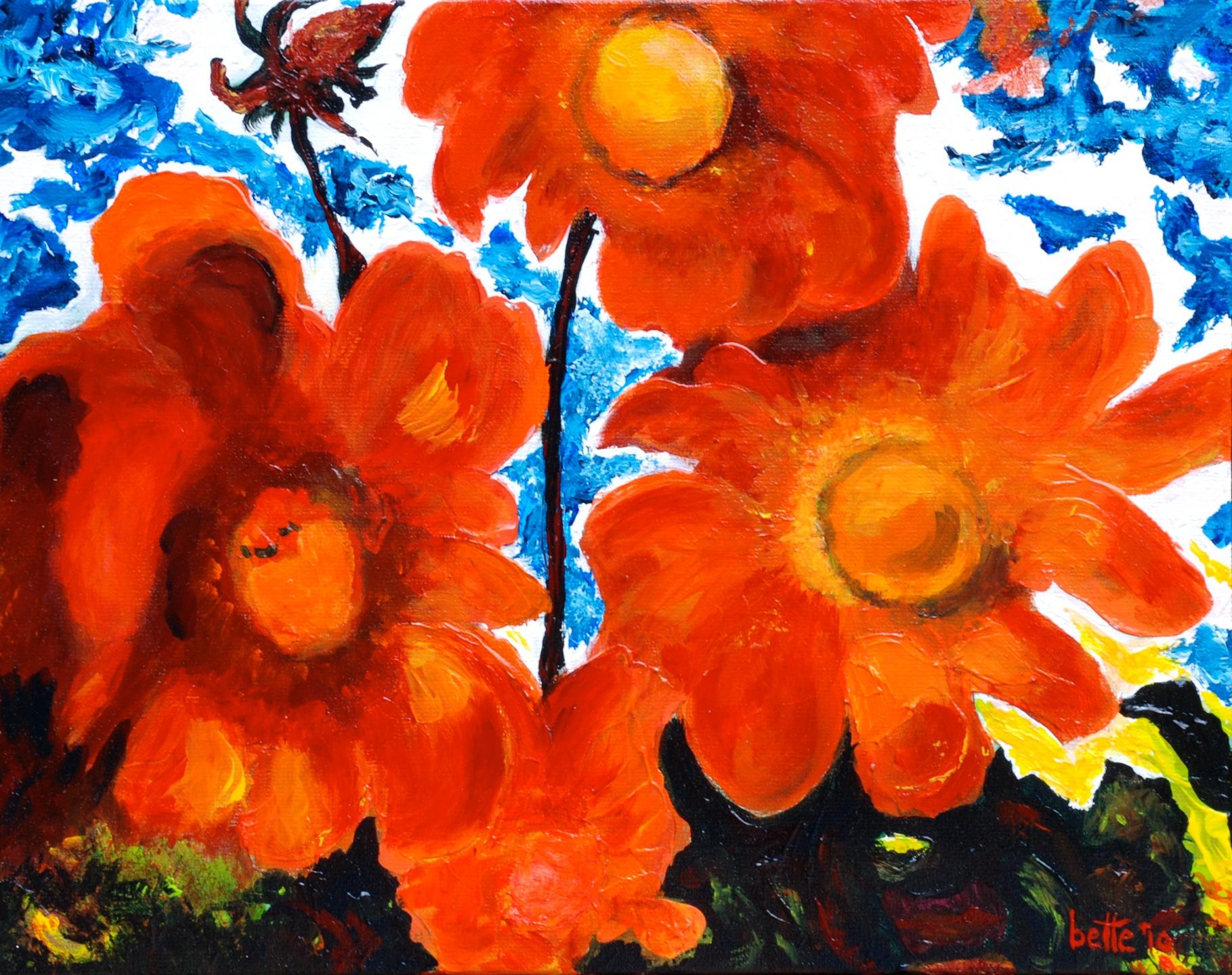 090 - Oranje bloemenweelde