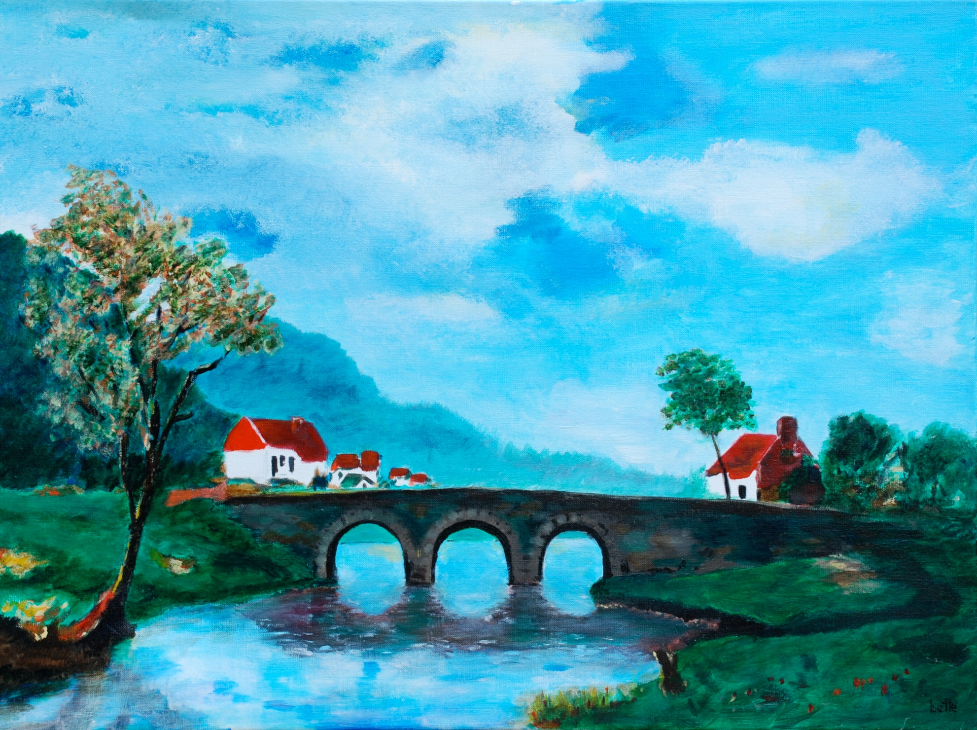 025 - Landschap met brug