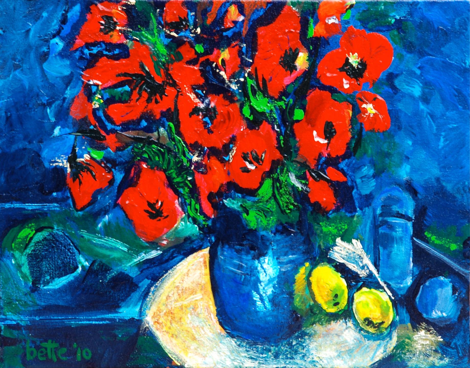 091 - Blauwe vaas met twee citroenen en glas