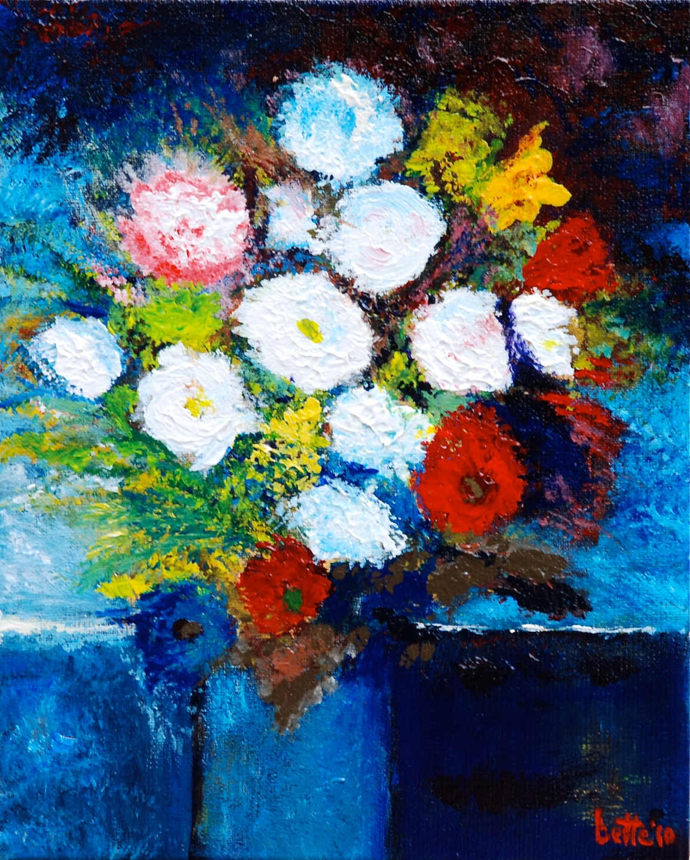 089 - Modern, blauwe vaas