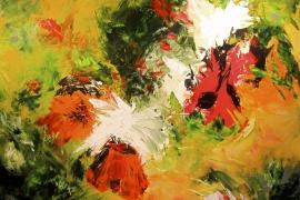 Sprankelend veld   Acryl op doek   90x90 cm   € 700