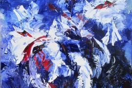 Witte pracht in blauw   Acryl op doek   70x70 cm   Verkocht