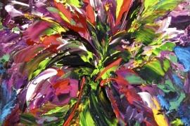 Fleurig tuiltje | Acryl op doek | 18x24 cm | € 100