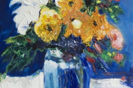 Blauwe vaas met bloemen | Olieverf op doek | 30x40 cm | € 300