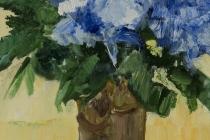 Blauwe bloemen in vaas   Olieverf op doek   30x40 cm   € 300