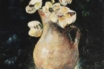 Bruine vaas met bloemen   Acryl op doek   30x40 cm   € 300