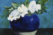 Blauw gemberpotje met bloemen   Acryl op doek   30x40 cm   € 300