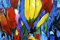 Tulpenboeket Yellow Central   Acryl op doek   40x50 cm   € 270