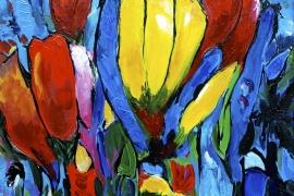 Tulpenboeket Yellow Central | Acryl op doek | 40x50 cm | € 300