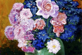 Groene pot met roze bloemen | Acryl op doek | 30x40 cm | € 200