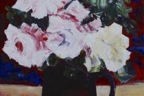 Stil leven met rozen   Acryl op doek   30x40 cm   € 240