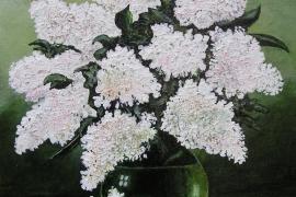 Witte seringen in vaas | Acryl op canvas board | 24x35 cm | € 150