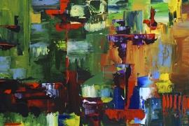 Symfonie   Acryl op doek   70x70 cm   € 750